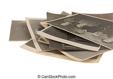 old vintage photos on white background
