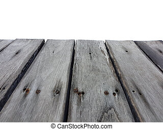 old vintage planked wood table in perspective isolated on white background