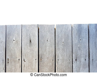 old vintage planked wood table in top view isolated on white background