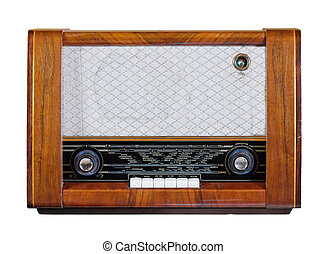 Old vintage radio from the 1950s isolated over white