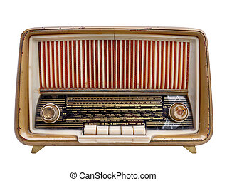old vintage radio isolated on white old vintage radio isolated on white