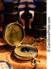 Old vintage retro compass