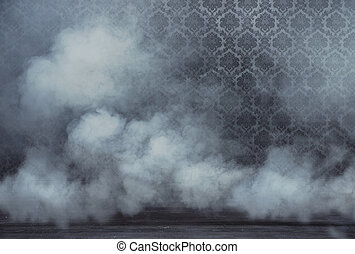 Old vintage room filled with dense smoke - Old vintage room...