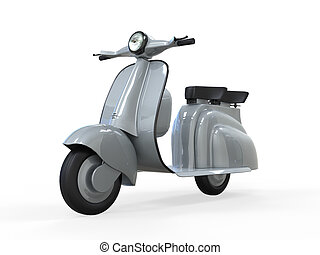 Old Vintage Scooter isolated on white background. 3d render