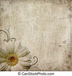 Old vintage shabby background with flower and hearts - Old...