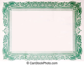 Old Vintage Stock Certificate Empty Border Frame - Border...