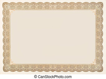 Old Vintage Stock Certificate Empty Boarder - Old stock...