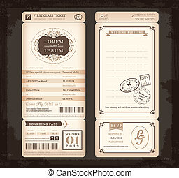 Old Vintage style Boarding Pass Ticket Wedding card...