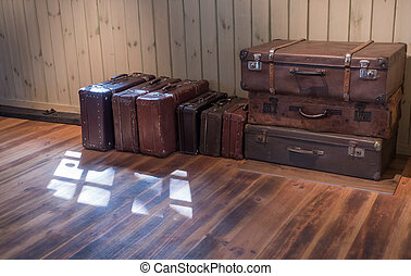 old Vintage Suitcase in the room