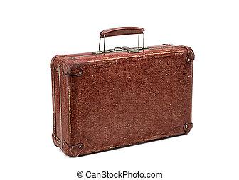 old vintage suitcase isolated on white background