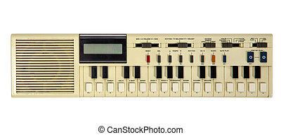 Old vintage synthesizer isolated on white
