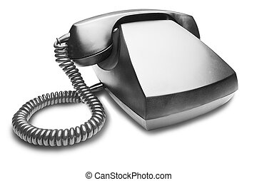 Old vintage telephone with shadow on white background