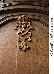 Old vintage texture on a wooden door