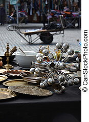 Old vintage things on the flea market on Place du Jeu de Balle in Brussels, Belgium