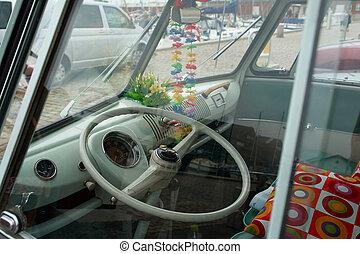 Old vintage travelling van