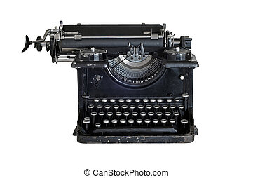 Old vintage typewriter, isolated on white background