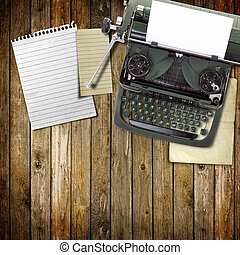 Old vintage typewriter with a blank sheet of paper inserted ...