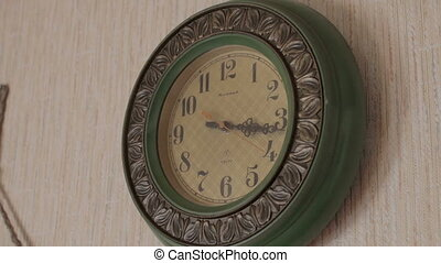 Old vintage wall clock in country house, Belarus