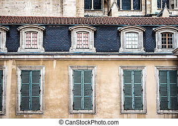 old vintage windows in a house