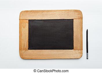 Old vintage  wooden frame blank slate and pencil