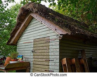 Old vintage wooden garden shed