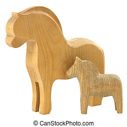 Old vintage wooden horses