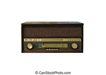 Old vintage wooden radio and media center isolated on white background