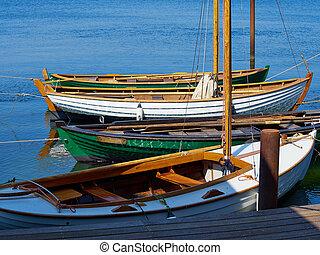 Old vintage wooden sail boats