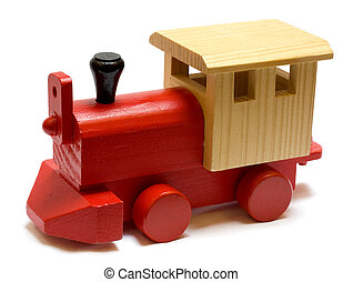 Old vintage wooden toy train on white background