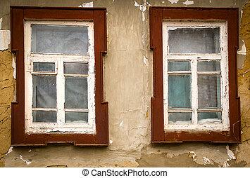 Old vintage wooden window