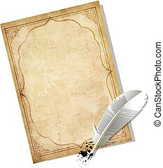 Old vintage worn paper blank and feather pen with ink blot