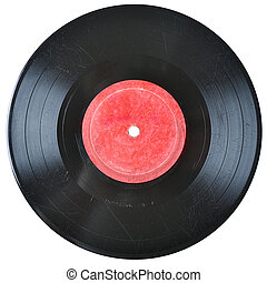 old vinil record with blank label isolated on white