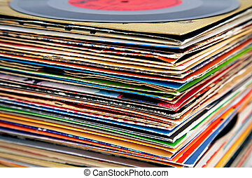 close up of old various vinyl records