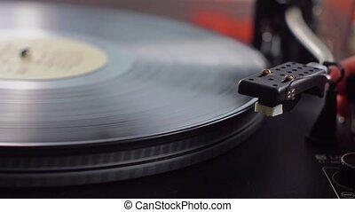 Old vinyl turntable playing music - Vintage vinyl turntable...