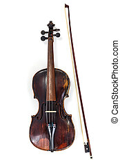 Old violin with bow on white background