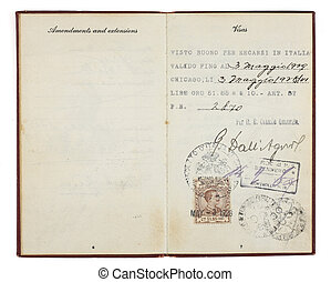 Old Visa with Italian Visa Stamp - A U.S. Passport from the...