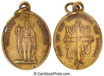 old vitage medallion - old vitage bronze medallion isolated...