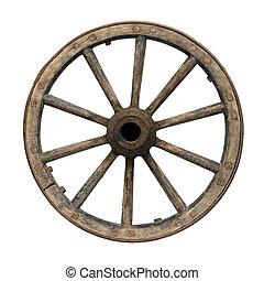 Waggon wheel  Old wagon wheel on axle  close up