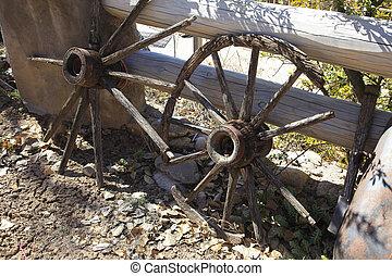 Old wagon cart wheels