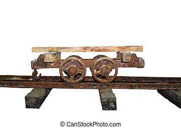 old rusty wagon on a salt mine isolated over white background