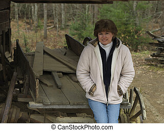 old wagon posing