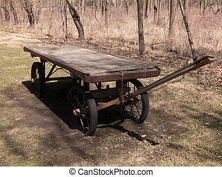 Old Wagon - Utilitarian flat bed wooden wagon updated just a...