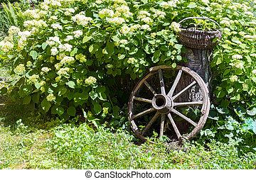 old wagon wheel garden decoration
