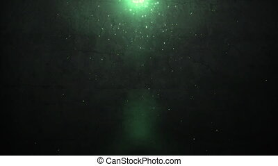 old wall and green sparkle light