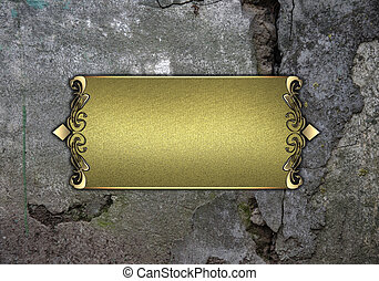 Old wall background with Gold name plate