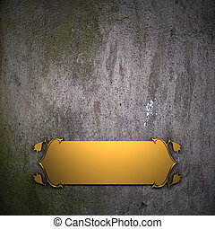 Old wall Background with Golden Band. Design template.