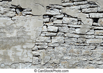 Old Wall Falling Apart - An old parged wall that has the dry...