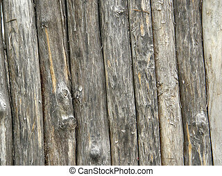 Old wall from wooden logs.