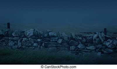 Old Wall In Storm With Mist Rushing Past At Night