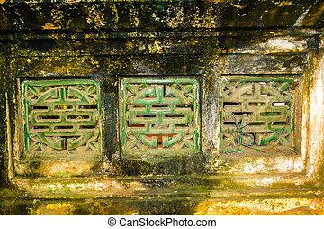 Old wall in temple near Hanoi, Viet